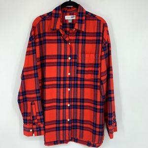 Old Navy Red Plaid Flannel Boyfriend Shirt